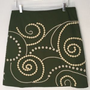 Boden embroidered skirt green lined Sz 10